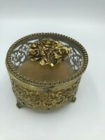 "Vintage Gold Filigree Ormolu Round Footed Trinket Box Casket ROSES 4"""