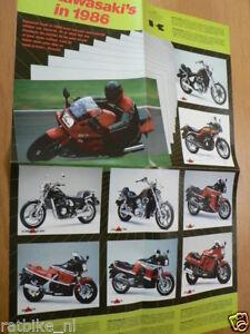 K280 KAWASAKI BROCHURE ALL MODELS 1986 1000GTR,KX,KLR,GPZ,VULCAN,DUTCH 8 PAGES