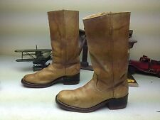 VINTAGE DISTRESSED SEARS AMBER BLONDE LEATHER MADE IN USA CAMPUS BOOTS 12D