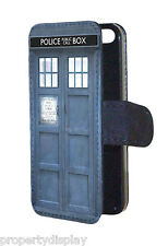 Blue Police Phone Box Design Faux Leather Flip Wallet Mobile Phone Case Cover