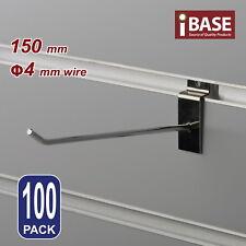 100 X Slat Wall Hook Slatwall Panel Grooved Display Board Chrome Steel 150mm 4mm