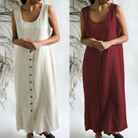 ZANZEA 8-24 Women Summer Sleeveless Maxi Sundress Kaftan Button Down Shirt Dress