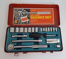 """Vintage 21 piece Ratchet Socket Set Triple Chrome 1/4"""" & 3/8"""" Drive Combination"""