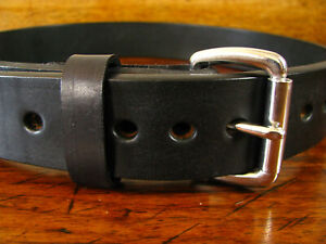 """Mens THICK Black Smooth Leather Gun Belt 1.5"""" Wide Roller Buckle Fits 29-31"""" USA"""