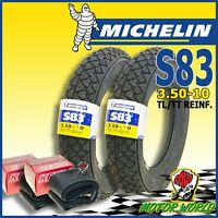 Pair Tyres Tires MICHELIN S83 3.50-10 + Pair Rooms Air Vespa Px LML