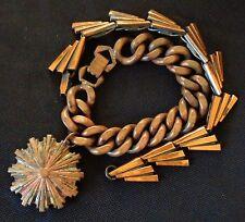 Vintage 2 Bracelet Lot Copper Mid Century Modern Panel & Charm