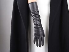 "TECH GLOVES Long Faux Leather 16"" 40cm Opera Evening Elbow Tan Brown Coffee"