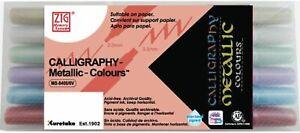 METALLIC Calligraphy Dual-Tip Markers 6 Pack Zig Memory System Scrapbooking