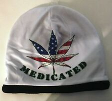 "Medicated Marijuana Weed Hat Cannabis Leaf Sublimated Knit Beanie Cap  ""SALE"""