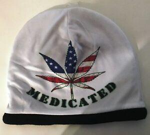 "Medicated Marijuana Weed Hat Cannabis Leaf Sublimated Knit Beanie Cap  ""SALE"""