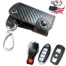 3D Carbon Fiber Genuine Leather Key Holder Cover Universal For Remote Smart Key