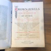 1888 - Crown Jewels Gems Literature Arts Music Old Vintage Victorian EngravingS