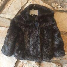 Gap Kids Girls Coat Size 4 4T Faux Fur Leopard Print Gray & Black Lined Jacket