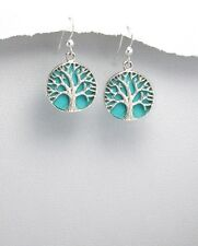 STERLING SILVER EARRINGS TREE OF LIFE PENDANT WITH TURQUOISE INLAY