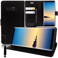"Etui Coque Housse Portefeuille NOIR Samsung Galaxy Note 8 6.3""/ Note8 + Stylet"