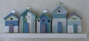 Row Of Blue Beach Huts By Shoeless Joe Beach Huts On Driftwood  Decoration
