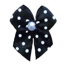 Mini Polka Dot Satin Ribbon Bows with Single Pearl - Choose Colour & Pack Size