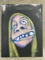 "Original Art ""Kris"" Outsider Urban Surreal Trippy Surreal Portrait Hippy Family"