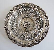 SIMON ROSENAU Antique German 800 Silver bowl RETICULATED devine cherub & lute