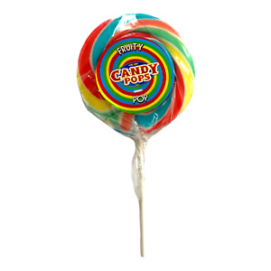 """4"""" Rainbow Lollipops Swirly Rock Candy Cake Toppers Party Favour Boiled Sweets"""