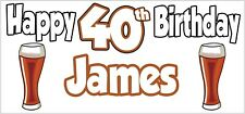 Personalised Pint of Ale 40th Birthday Banner x 2 Party Decorations ANY NAME