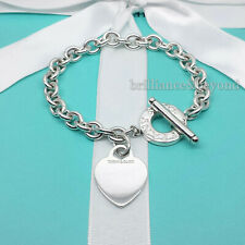 """Tiffany & Co. Heart Tag Toggle Charm Bracelet 925 Sterling Silver Large 8.25"""""""