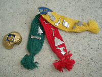 LOT Vintage Webelos Cub Scout Tri Color Ribbon Many Pins And Neckerchief Slide