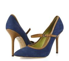 Pollini Womens Blue Leather Pointy Toe Mary Janes Pumps Heels Shoes Size 40