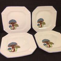 "Vintage 4 Whimsical Mushroom Salad / Dessert Plates Made in Japan 7 1/2"" MINT"