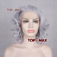 """11"""" Silver Gray Short Curly Synthetic Women Hair Lace Front Wig Heat Resistant"""