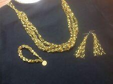 8 strang set Crocheted Ladder Trellis GOLD DUST  necklace, bracelet,earrings