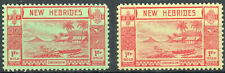 New Hebrides 1938 KGVI  2 x 1Fr mint stamps  shades  Lightly Hinged