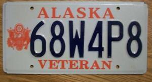 SINGLE ALASKA LICENSE PLATE - 68W4P8 - VETERAN - ARMY