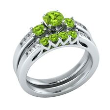 1.10 Ct Round Cut Peridot Wedding Engagement Ring Bridal Set 14k White Gold GP