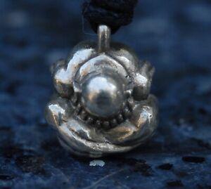 Yogi weeping Buddha pendant necklace on cord budha buddhism Silver finish