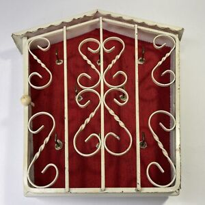 Vintage 1940's Wall Mounted Wrought Iron Key Holder Cabinet Storage Box 8 Hooks