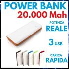 POWER BANK 20000 mah BATTERIA ESTERNA 3 USB CARICABATTERIE PORTATILE UNIVERSALE