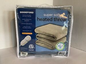 BIDDEFORD Super Soft Heated Throw Blue Analog Control 13' Cord Auto Shut Off NEW