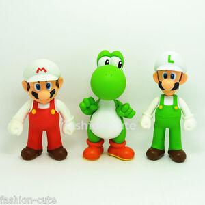 3 pcs Super Mario Brothers White Luigi Yoshi Action Figures figurines 5 inch