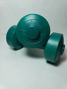 Set of 2 Bollinger Green Plastic 3 lbs Dumbbells 6 lbs total Pair Hand Weights