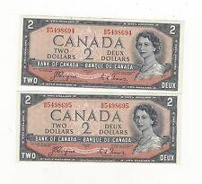 **1954**Canada $2 Note, Coyne/Towers# BB 5498694/95  BC-30a  Devil's Face Seq Pr