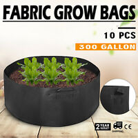 10 Pack 300 Gallon Fabric Plant Grow Bags With Handles Reusable Grow Garden
