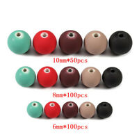 50-100pcs 6/8/10mm Hole 1.8mm Acrylic Matte Round Spacer Loose Beads Handmade