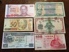 Collection of Six Paper Notes Lot from Hong Kong, Taiwan, Thailand and Brasil
