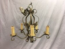 Antique Wrought Iron Chandelier Light Fixture Figural Tin Tole Old Vtg 40-18E