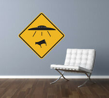 "UFO Alien Cow Abduction Traffic Sign Repositionable Wall Decal 12""x12"" Home Deco"