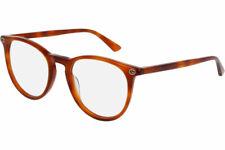 New Authentic Gucci GG0027O 003 50MM Womens Light Havana Round Eye Glasses Frame