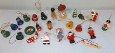"Lot 23 Miniature Wood Wooden Christmas Ornaments 1"" - 2.5"""