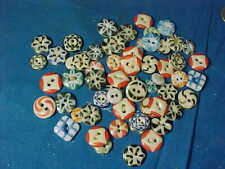 61- Orig 19thc CHINA STENCIL Type BUTTONS Various Styles + Colors