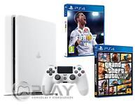 PS4 Slim Blanca Consola 500Gb - Pack 2 Juegos - FIFA 18 + GTA V